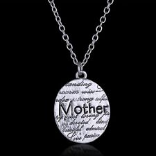 Mother Day Mom Jewelry Gift Letter Engraved Pendant Charm Necklace Chain Silver