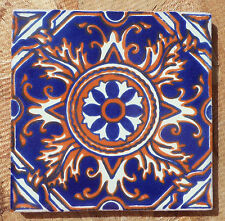 "10~Talavera Mexican 4"" tile pottery Hand painted COMPASS Rust Blue Cobalt Cream"