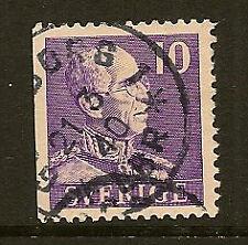 SWEDEN: 1939 King Gustav V 10 ore perf 12 1/2 ( 3 sides)  SG 211b  used