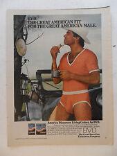 1980 Print Ad BVD Men's Underwear Briefs ~ Western Cowboy w/ Hat Shaving ORANGE