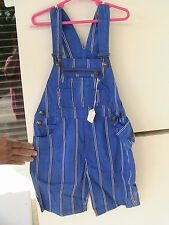 BLUE STRIPED DENIM OVERALLS Size 6 boys, fly, zip top, fanny pack, machine wash