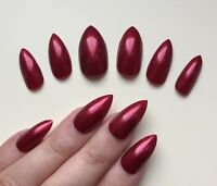 Hand Painted False Nails STILETTO (Or ANY SHAPE) Full Cover. Gloss Metallic Red.