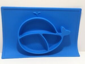 Nuby Sure Grip Whale Silicone Baby Kids Place mat Food Plate Blue Section