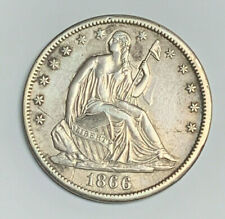 US 1866 50 Cents Half Dollar Seated Liberty XF Great Condition |