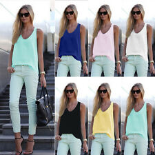 Candy color Sleeveless NEW Womens Summer V neck T-shirt Top Womens Casual Blouse