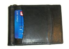 Leather Money Clip / Front Pocket Wallet with Spring - Black - New