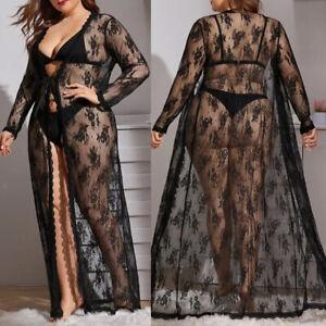 Übergröße Damen Sexy Spitze Nachthemd Dessous Kimono Robe Lang Kleid Nachtwäsche