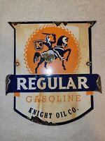 Vintage Regular Gasoline Porcelain Sign Knight Oil Co. Pump Plate Gas Oil