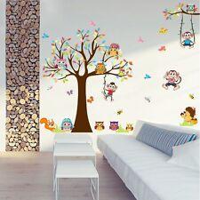 Wandtattoo Wandsticker  Kinderzimmer  Aufkleber Baum Tiere Bunt Lustig Baby Top