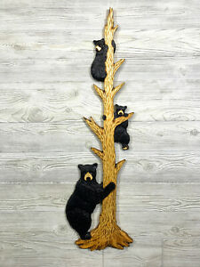 Hand Carved MOTHER BLACK BEAR w/ 2 CUBS up TREE Wood Wall Art Chainsaw Carving