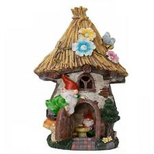 New listing Hunnykome Solar Powered Gnome Straw House 1-Light 12 in. Led with Straw Roof