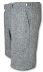 Grey Wool Flannel School Uniform Short Trousers / Shorts Button Fly White Lining