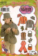 Simplicity Girls' Jacket,Vest,Scarf,Hat,Bag Mittens Pattern 4818 Size 7-16 UNCUT