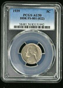 1939 5C Jefferson Nickel PCGS AU50  DDR FS-801 (022) (1992)  99c NO RESERVE