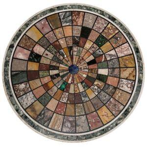 "42"" white round Marble Table Top Pietra Dura Handicraft Home Decor & Garden"