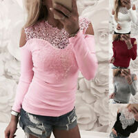 Women Lace Long Sleeve T-shirt Slim Fit Off Shoulder Casual Floral Blouse Tops