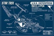 2014 STAR TREK USS ENTERPRISE BLUEPRINT TECHNICAL DATA CHART POSTER PRINT 36x24
