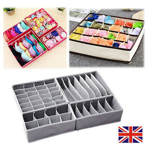 UK 4 x Foldable Underwear Bra Fabric Socks Box Storage Organiser Drawer Dividers