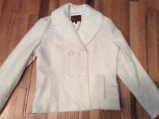NWOT Womens white Shyla double-breasted wool blend coat with shawl collar size 8