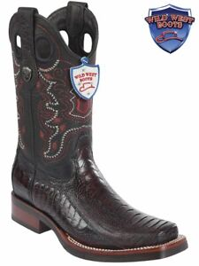 Wild West Genuine Ostrich leg Western Cowboy Boot Square Toe Handcrafted