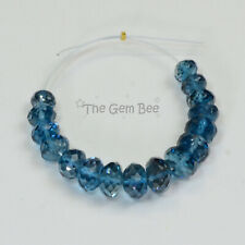 4.5mm-6mm London Blue Topaz Faceted Rondelle Beads (16)