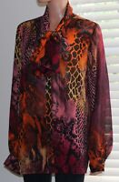Women's Marc Bouwer Long Sleeve Bow Blouse Top Size XL