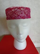 Vintage Red Laced Box Hat (#0322)