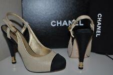NIB CHANEL Fishnet Mesh & Satin Gold / Black Platform Slingback Pump Shoes 34.5