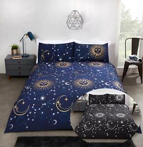 Modern Celestial Duvet Cover Set Space Foil Print Reversible Bedding Bed Set