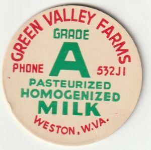 MILK BOTTLE CAP. GREEN VALLEY FARMS. WESTON, WV. DAIRY