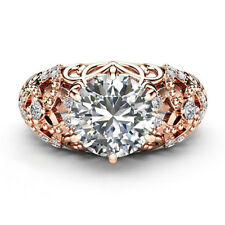 Rose Gold Engagement Ring Round Cut 2 Ct Real Moissanite Rings Solid 14K