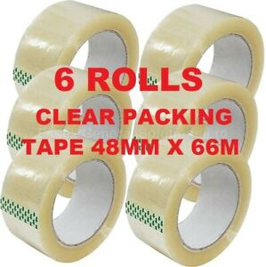 CLEAR PARCEL PACKING TAPE CARTON SEALING 48MM X 66M CELLOTAPE PACKAGING 6 ROLLS
