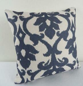 60 CM EURO New Hamptons Grey-Blue Acanthus Linen Look Cushion Cover