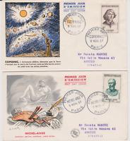 FRANCE /  7 FDC  1R JOUR  / SERIE 1957 CELEBRITES ETRANGERES /  MOZART GOETHE...