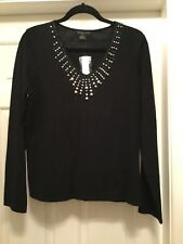 NEW GORGEOUS BLACK  JUMPER  75% SILK  ~ Pearl & bead neckline  size 14 -16