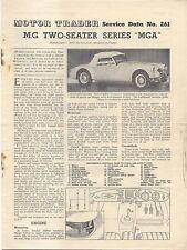 MG MGA Two Seater Motor Trader Service Data No. 261 1956