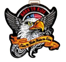 "BORN TO RIDE - LIVE TO RIDE - RIDE T0 LIVE  BIKER PATCH - IRON  OR SEW   4"" X 4"""
