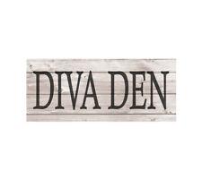 DIVA DEN Metal Sign Wood Look Rustic Wall Decor Retro Man cave 5x12 SS50
