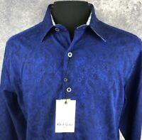 Robert Graham XL Shirt Mens Paisley Navy Sleek Classic Long Sleeve New $188