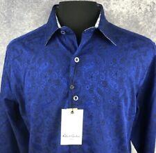 Robert Graham Large Shirt Mens Paisley Navy Sleek Classic Long Sleeve New $188