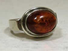 Sterling Silver 925 Oval Amber Cabochon Ring Sz 8.125 (11.95 g)