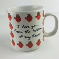 """Russ Berrie And Company Bear Hearts """"i Love You From The Bittom Of My Heart"""" Mug"""