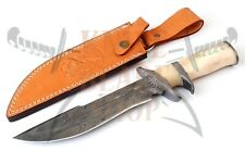 DAMASCUS STEEL BLADE SUB-HILT BOWIE KNIFE,SMOOTH HANDLE .