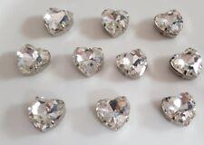 10 x 12mm Clear Heart Shape Rhinestone Embellishment Flat Back / Claw / Sew On