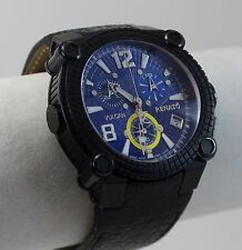 Renato Men's Vulcan Watch, ETA G10, Black IP, Shock Blue Dial on Shark Skin