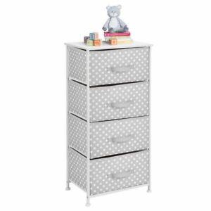mDesign Tall Storage Dresser, Steel Frame, 4 Fabric Drawers - Gray/White