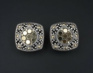 "John Hardy Sterling 18k Gold Jaisalmer Dot Collection Square Earrings 1"" ES2075"