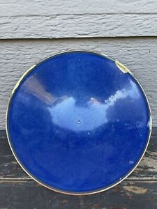 Old Chinese Qing 17th Yongzheng Blue Ground Dragon Bowl Asian China From Estate