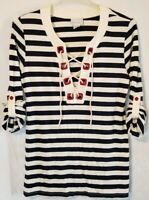 Soft Surroundings Nautical Long Blouse Size M