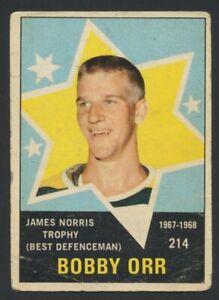 1968-69 OPC #214 Bobby Orr HOF Boston Bruins  O-Pee-Chee Vintage NHL Hockey
